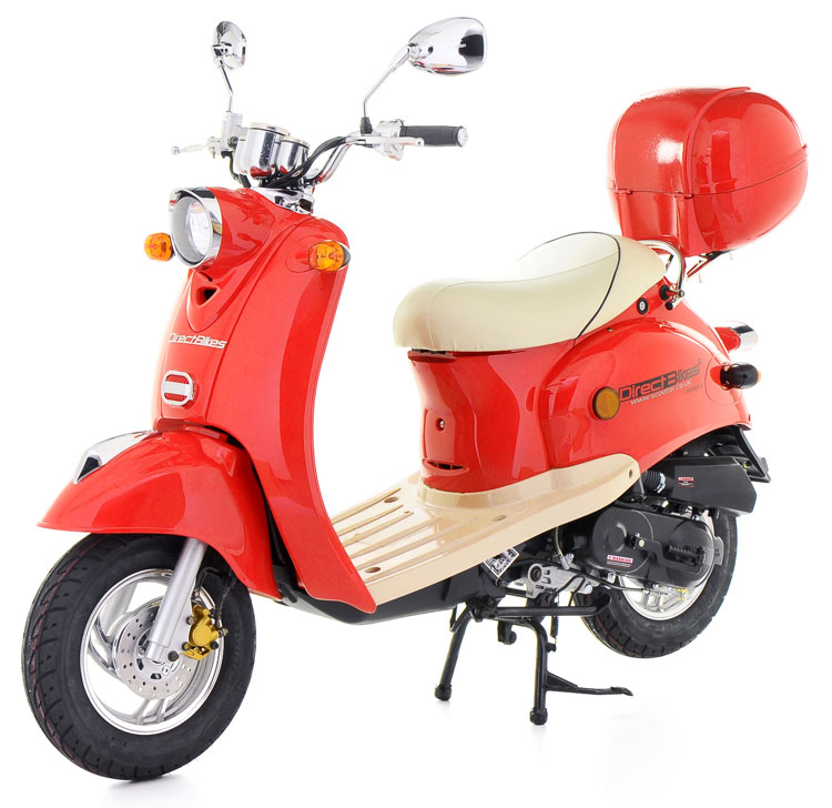 50cc scooter buy direct bikes retro 50cc scooters red. Black Bedroom Furniture Sets. Home Design Ideas