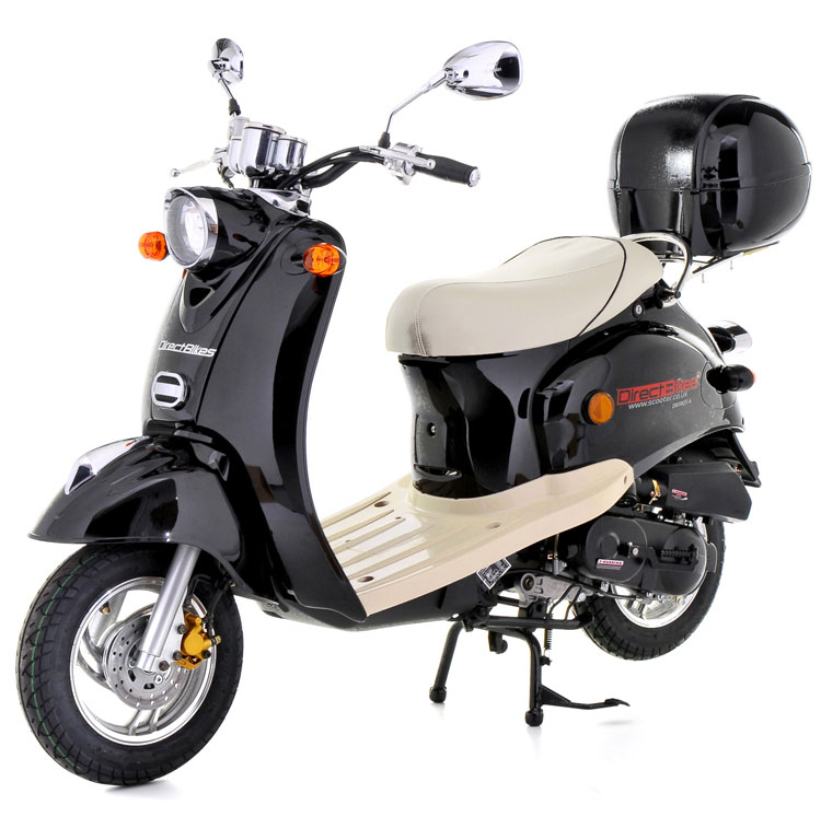 50cc scooter buy direct bikes retro 50cc scooters black. Black Bedroom Furniture Sets. Home Design Ideas